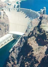 The hoover dam, seen from above